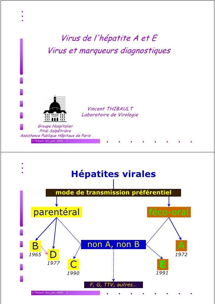 Virus de l'hépatite A et E                  Virus et marqueurs diagnostiques                                              ...