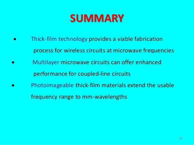 Thick Film Multilayer Microwave Circuits For Wireless