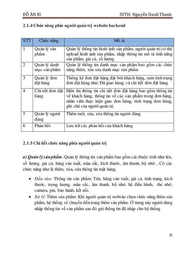 ĐỒ ÁN III SVTH: Nguyễn DanhThanh 15 2.1.4 Chức năng phía ngƣời quản trị website backend STT Chức năng Mô tả 1 Quản lý sản ...