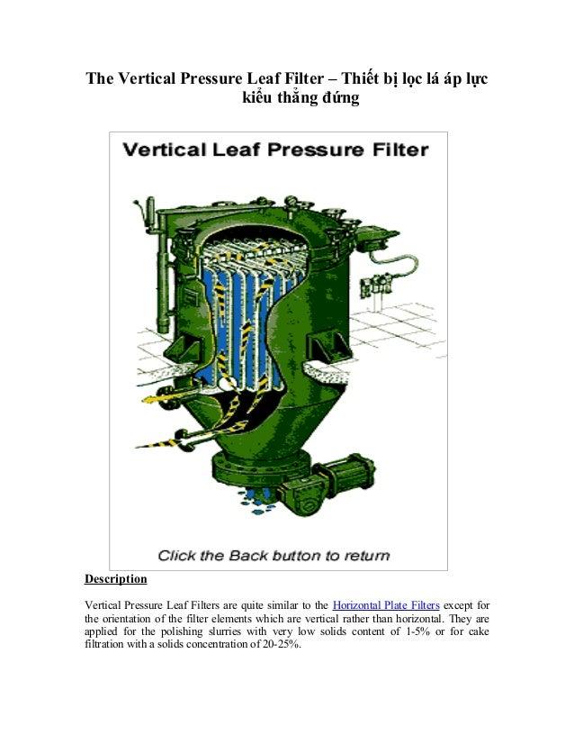 The Vertical Pressure Leaf Filter – Thiết bị lọc lá áp lực kiểu thẳng đứng Description Vertical Pressure Leaf Filters are ...