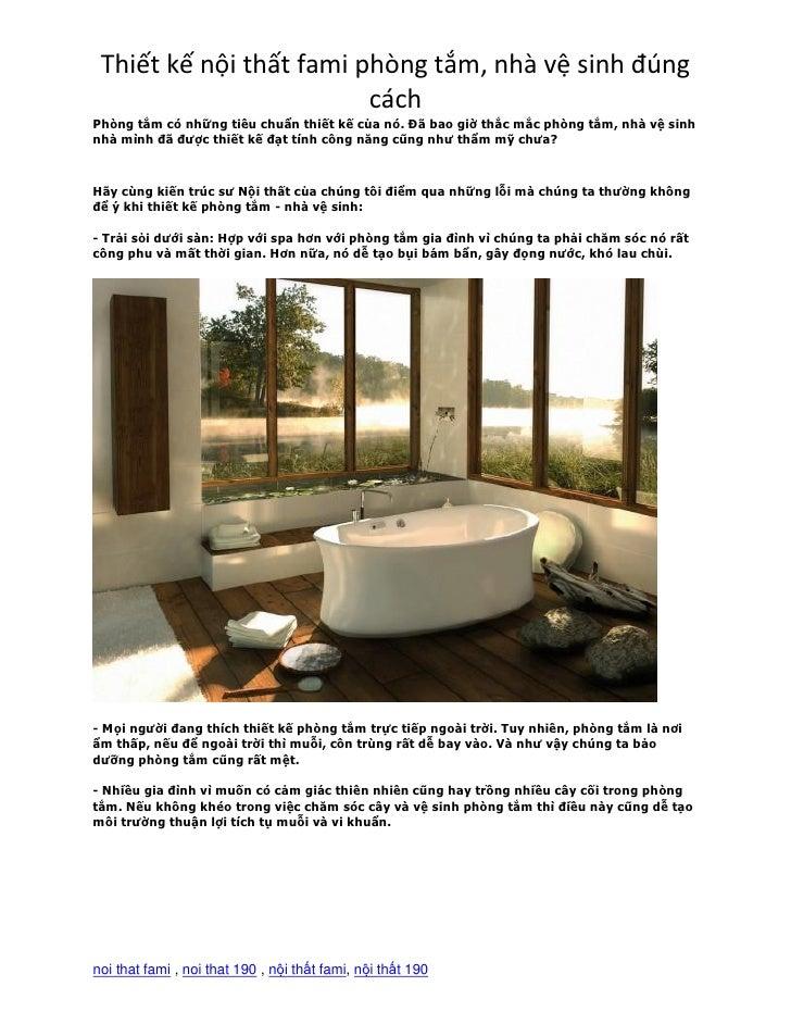 Thiết kế nội thất fami phòng tắm, nhà vệ sinh đúng                         cáchPhòng tắm có những tiêu chuẩn thiết kế của ...