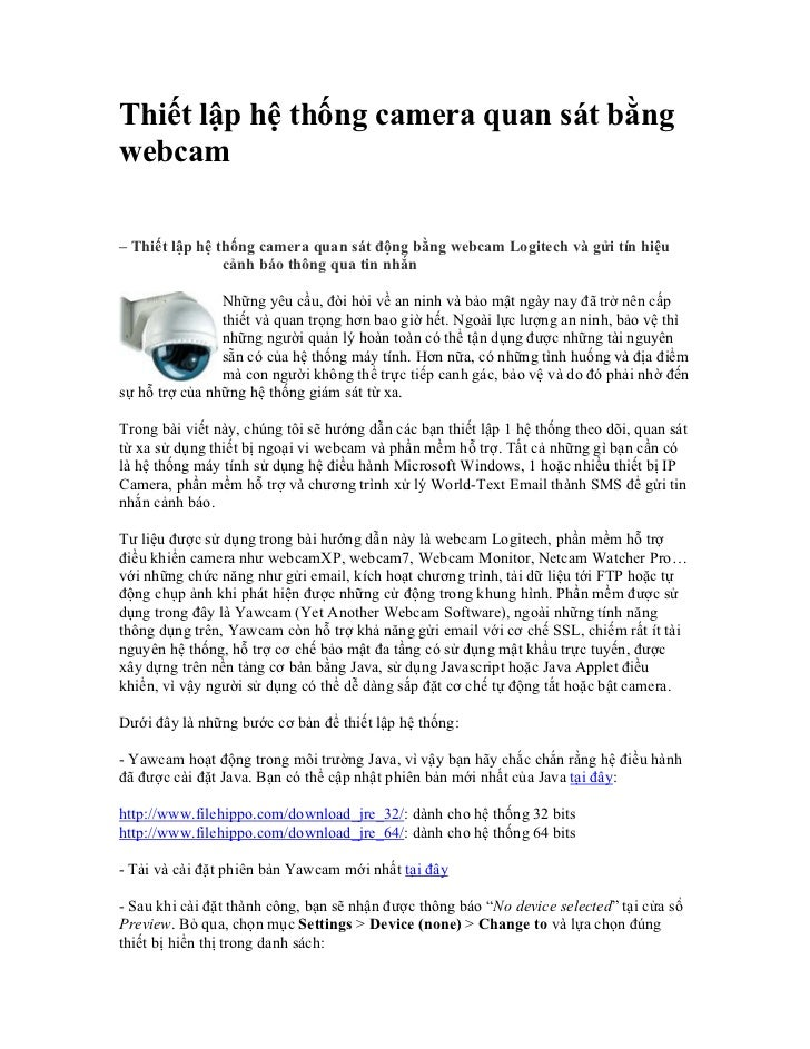 Thiết lập hệ thống camera quan sát bằngwebcam– Thiết lập hệ thống camera quan sát động bằng webcam Logitech và gửi tín hiệ...