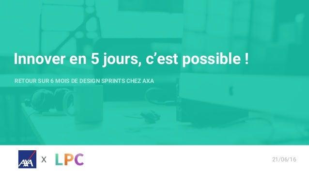 Innover en 5 jours, c'est possible ! RETOUR SUR 6 MOIS DE DESIGN SPRINTS CHEZ AXA X 21/06/16