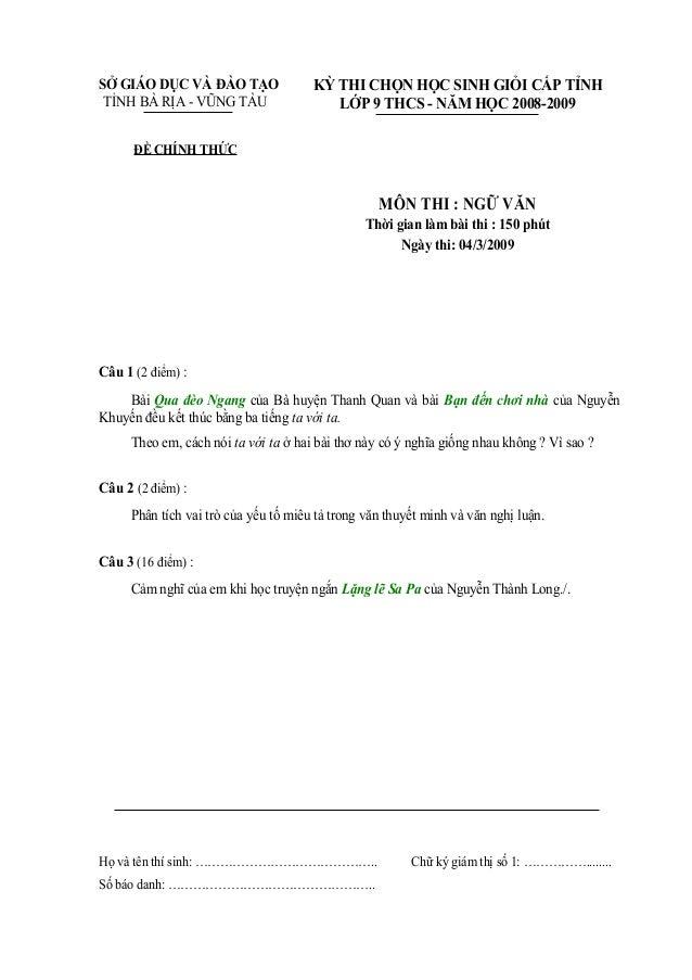 SỞ GIÁO DỤC VÀ ĐÀO TẠO                KỲ THI CHỌN HỌC SINH GIỎI CẤP TỈNH TỈNH BÀ RỊA - VŨNG TÀU                  LỚP 9 THC...