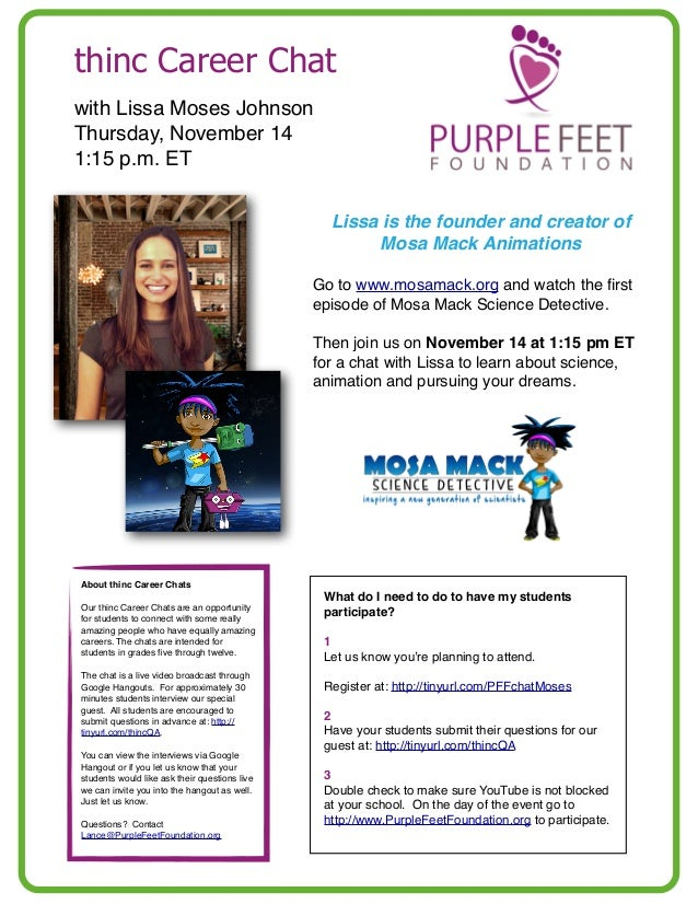 thinc Career Chat with Lissa Moses Johnson Thursday, November 14 1:15 p.m. ET Lissa is the founder and creator of Mosa Mac...
