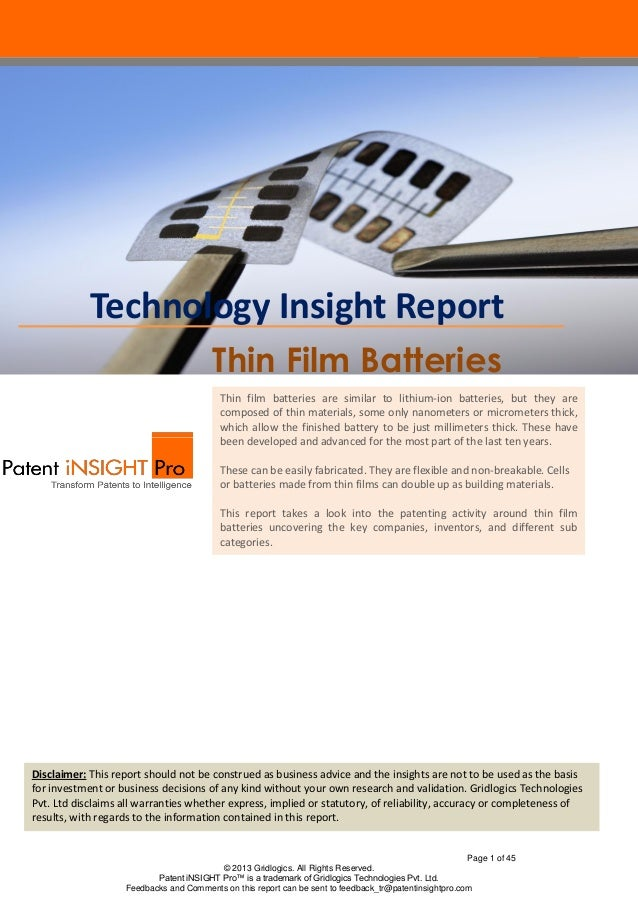 Technology Insight Report                                        Thin Film Batteries                                      ...