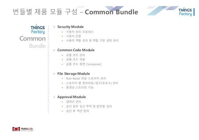 번들별 제품 모듈 구성 – Common Bundle ü Security Module § 사용자 관리 프로세스 § 사용자 인증 § 사용자 역할 관리 및 역할 기반 권한 관리 ü Common Code Module § 공통 ...