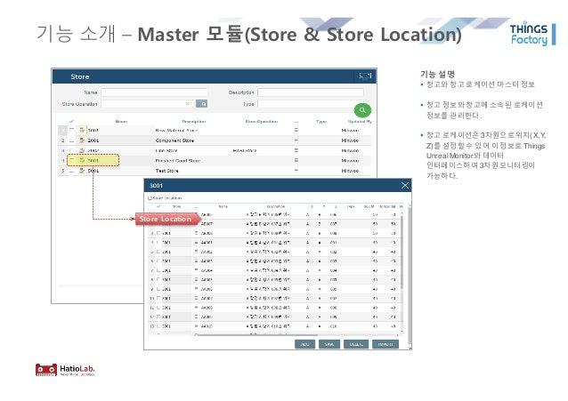 기능 소개 – Master 모듈(Store & Store Location) 기능 설명 § 창고와 창고 로케이션 마스터 정보 § 창고 정보와 창고에 소속된 로케이션 정보를 관리한다. § 창고 로케이션은 3차원으로위치(X,...