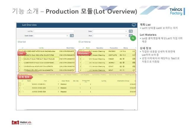 기능 소개 – Production 모듈(Lot Overview) 계획 List § Lot의 상태를 List로 보여주는 위치 Lot Histories § Lot을 클릭했을때 해당 Lot의 작업 이력 제공 상세 정보 § 작...