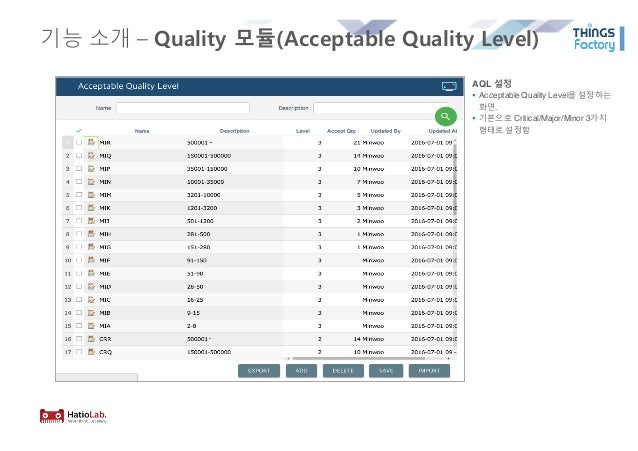 기능 소개 – Quality 모듈(Acceptable Quality Level) AQL 설정 § Acceptable Quality Level을 설정하는 화면. § 기본으로 Critical/Major/Minor 3가지 형...