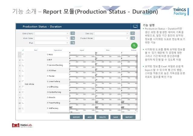 기능 소개 – Report 모듈(Production Status - Duration) 기능 설명 § Production Status – Duration이란 생산 과정 중 발생한 데이터 기록을 바탕으로, 일정 기간 동안의...