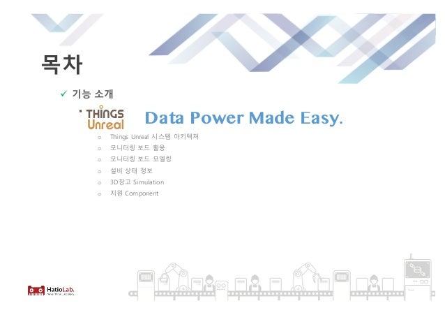 목차 ü 기능 소개 § o Things Unreal 시스템 아키텍쳐 o 모니터링 보드 활용 o 모니터링 보드 모델링 o 설비 상태 정보 o 3D창고 Simulation o 지원 Component Data Power Ma...