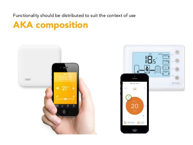Functionality should be distributed to suit the context of use AKA composition