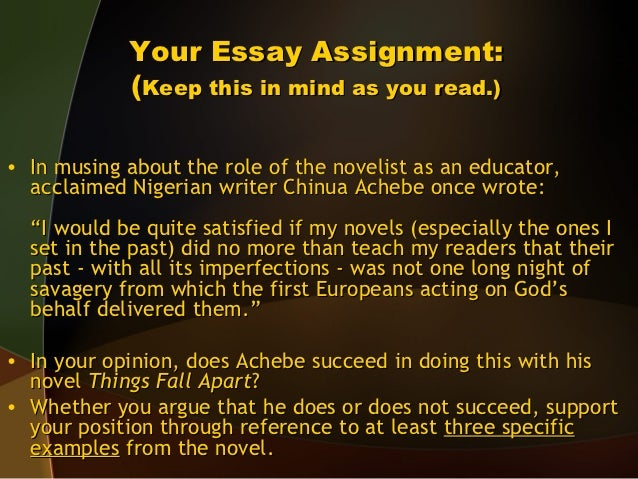 essay on things fall apart by chinua achebe