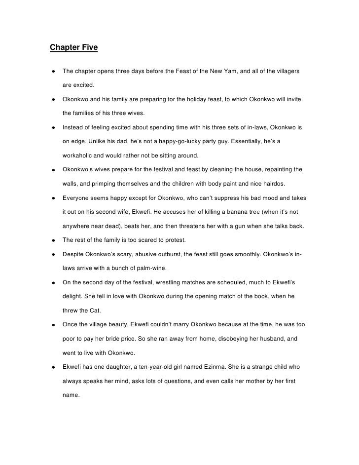 Chapter Five<br />The chapter opens three days before the Feast of the New Yam, and all of the villagers are excited. <br ...