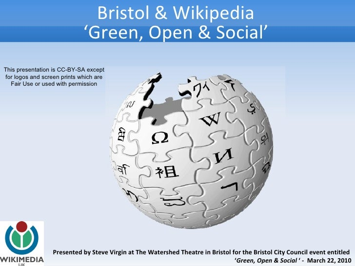 Presented by Steve Virgin at The Watershed Theatre in Bristol for the Bristol City Council event entitled  ' Green, Open &...