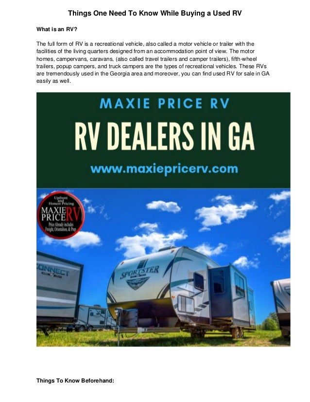 Used Rv For Sale In Ga >> Things One Need To Know While Buying Used Rv