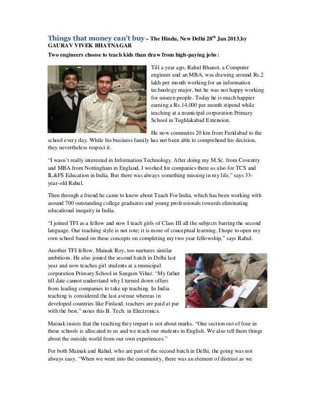 Things that money can't buy – The Hindu, New Delhi 28th Jan 2013,byGAURAV VIVEK BHATNAGARTwo engineers choose to teach kid...