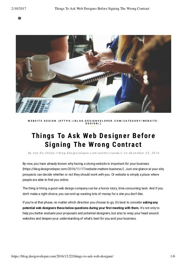 Things To Ask Web Designer Before Signing The Wrong Contract