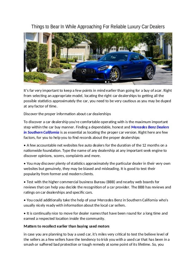 Dealerships That Buy Cars >> Things To Bear In While Approaching For Reliable Luxury Car