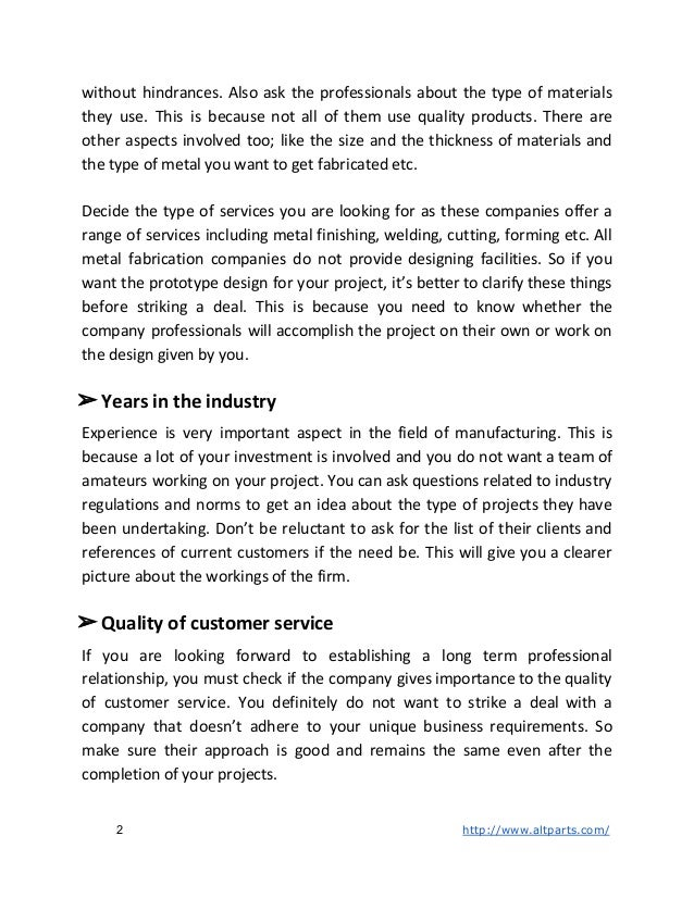 Things to Consider Before Deciding on a Metal Fabrication Company Slide 2