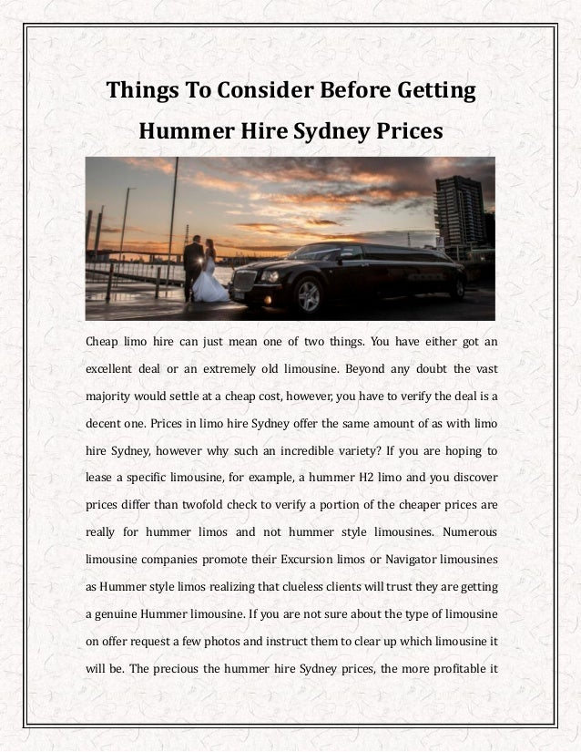 Things To Consider Before Getting Hummer Hire Sydney Prices - Cheap hummer hire sydney