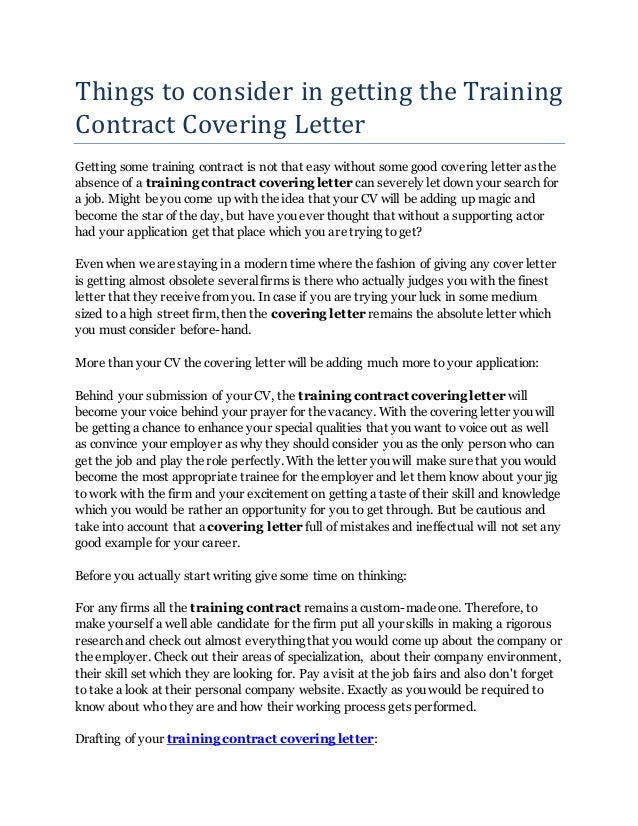Things to consider in getting the training contract for Things to write in a cover letter