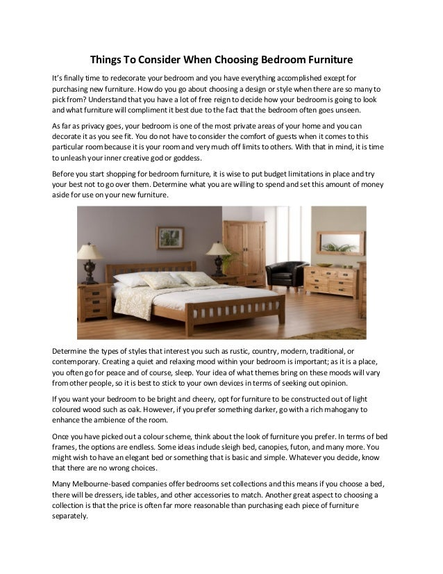 Things To Consider When Choosing Bedroom Furniture Fascinating Things For Bedroom Set Design