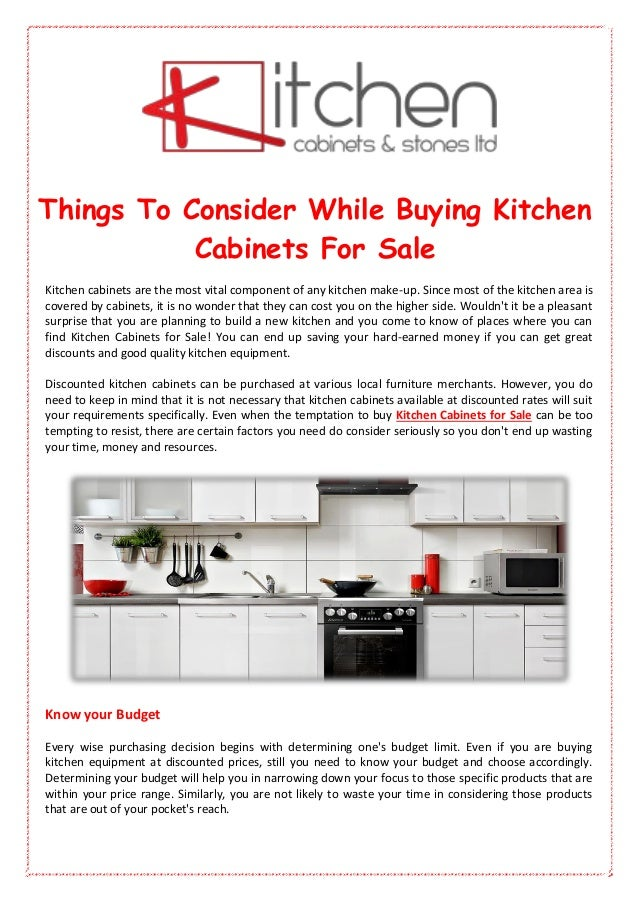 Things To Consider While Buying Kitchen Cabinets For Sale