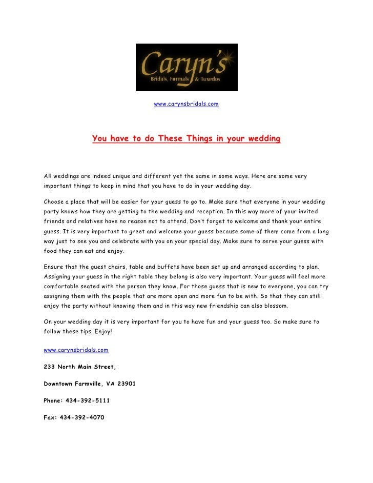 www.carynsbridals.com                      You have to do These Things in your wedding    All weddings are indeed unique a...