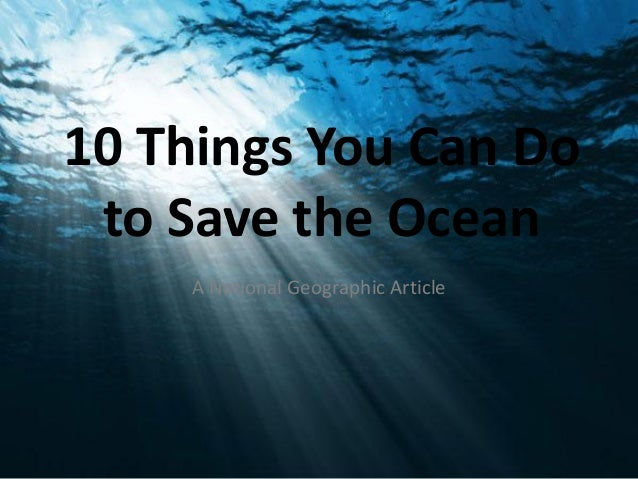 Things to do to save the ocean