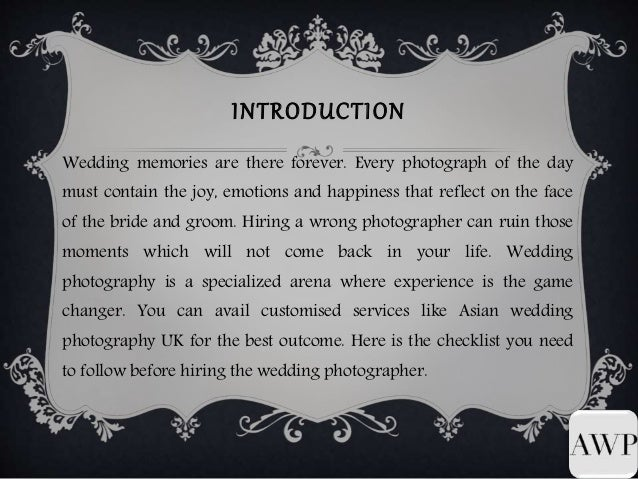 Things to Keep in Mind While Hiring Wedding Photographer