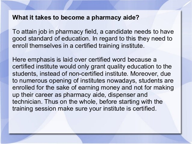 pharmacy assistant job description