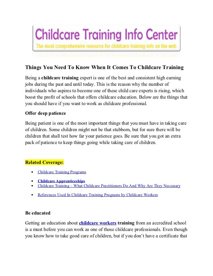 things you need to know when it comes to childcare training