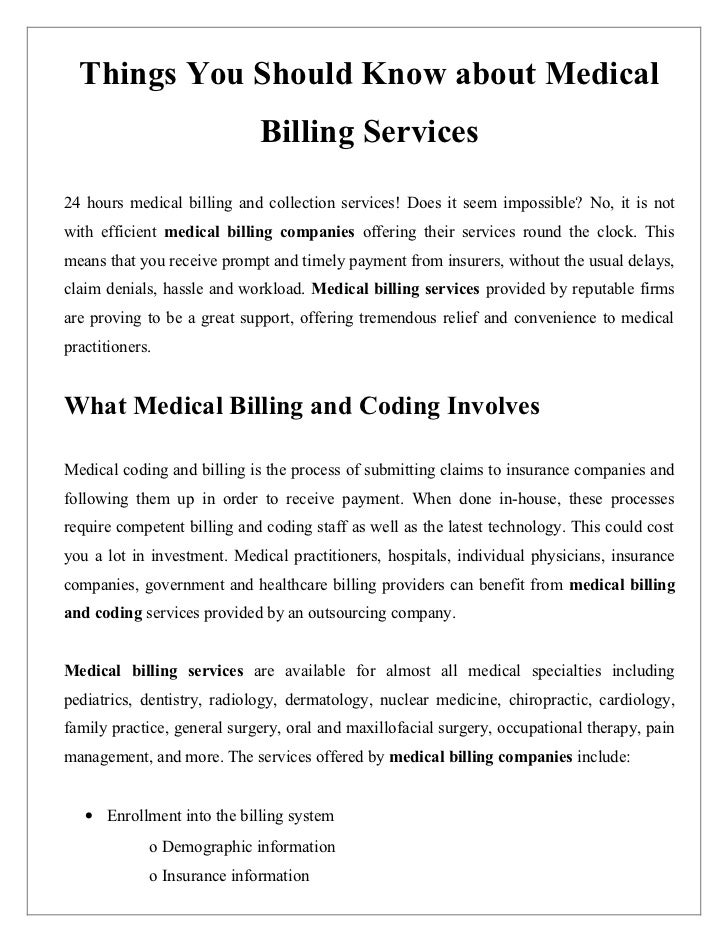 Things You Should Know about Medical                             Billing Services24 hours medical billing and collection s...