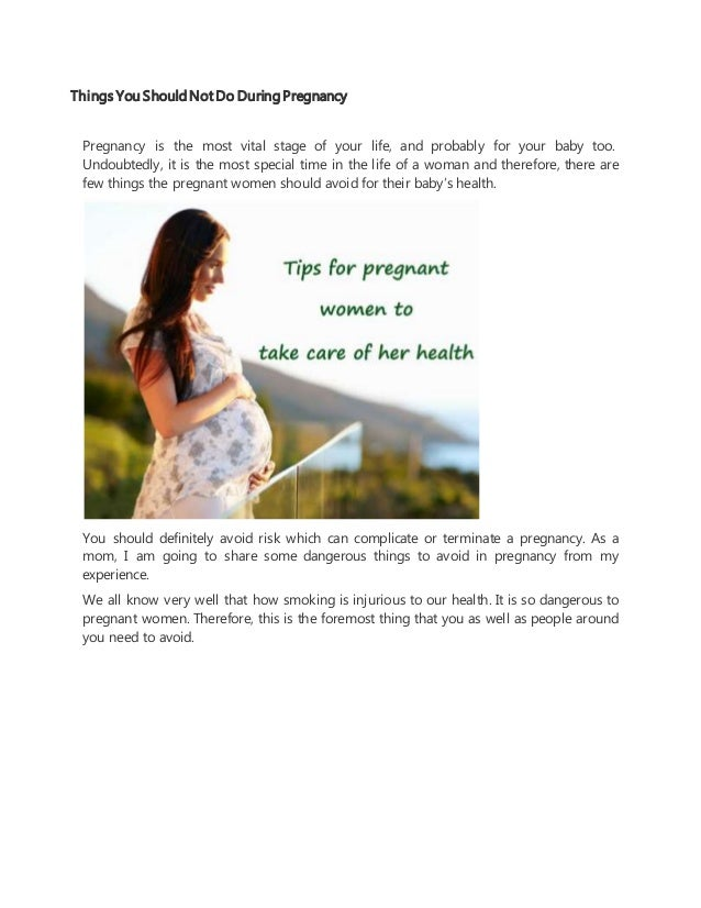 Things To Do For Pregnant Women