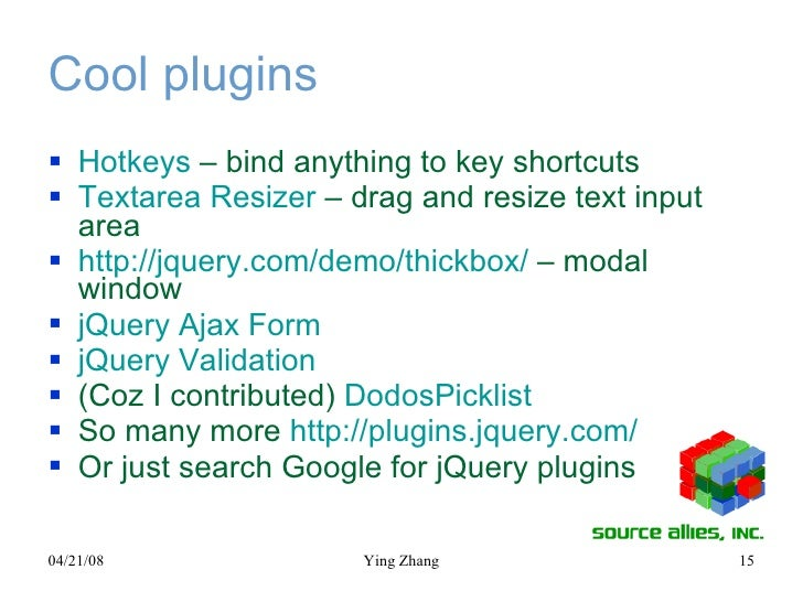 Cool plugins <ul><li>Hotkeys  – bind anything to key shortcuts </li></ul><ul><li>Textarea  Resizer   – drag and resize tex...