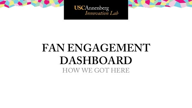 FAN ENGAGEMENT  DASHBOARD HOW WE GOT HERE