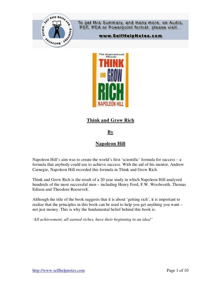 Think and Grow Rich                                             By                                      Napoleon HillNapol...