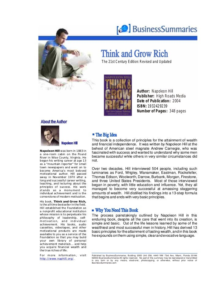 Think and Grow Rich                                                          The 21st Century Edition: Revised and Updated...