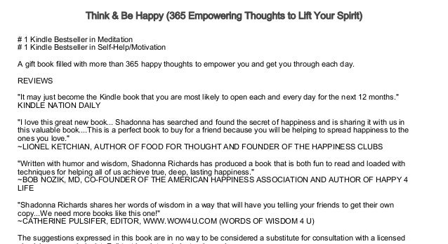 Think & Be Happy (365 Empowering Thoughts to Lift Your Spirit) Audiob…