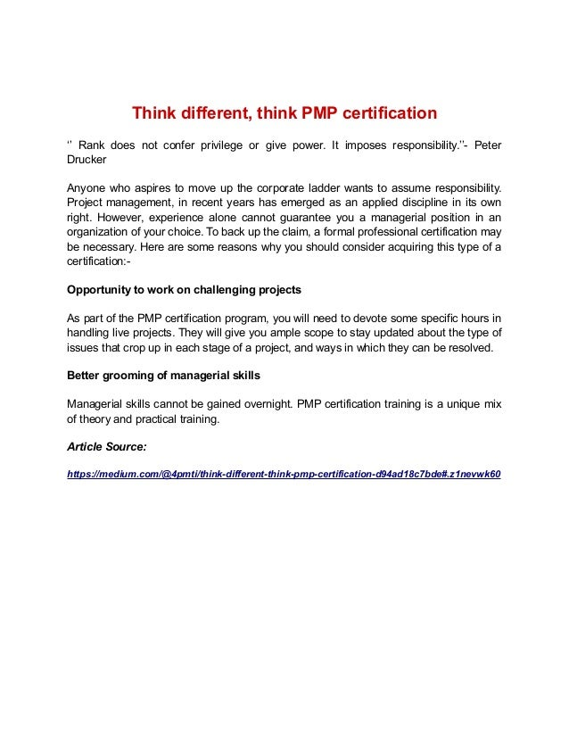 Think Different Think Pmp Certification