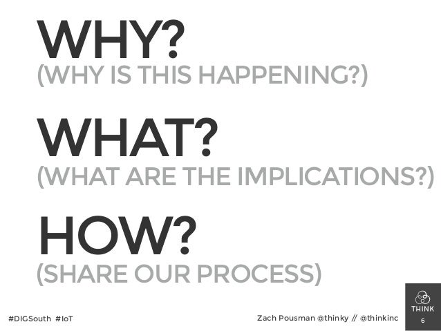 WHY? WHAT? HOW? 6#DIGSouth #IoT Zach Pousman @thinky // @thinkinc (WHY IS THIS HAPPENING?) (WHAT ARE THE IMPLICATIONS?) (S...