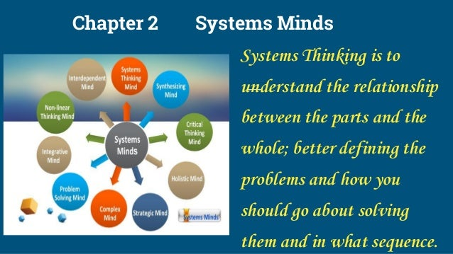 Chapter 2 Systems Minds Systems Thinking is to understand the relationship between the parts and the whole; better definin...