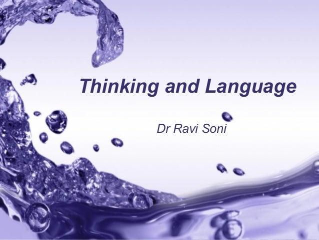 Page 1 Thinking and Language Dr Ravi Soni