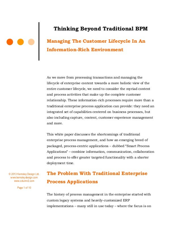 © 2013 Kemsley Design Ltd. www.kemsleydesign.com www.column2.com Page 1 of 10 Thinking Beyond Traditional BPM Managing The...