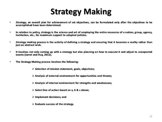 Thinking for policy and strategy making