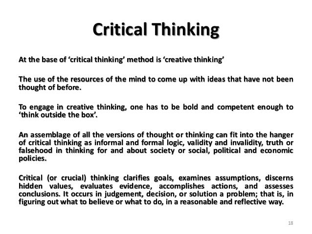 creative minds & critical thinking essay Week four phl/458: creative minds and critical thinking kyei baffour, february 17, 2015 instructor: prof karen williams stephen hawking stephen hawking was.
