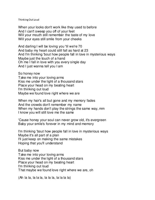 Ed Sheeran Thinking Out Loud Ed Sheeran Letra Espanol Daedalusdrones Com