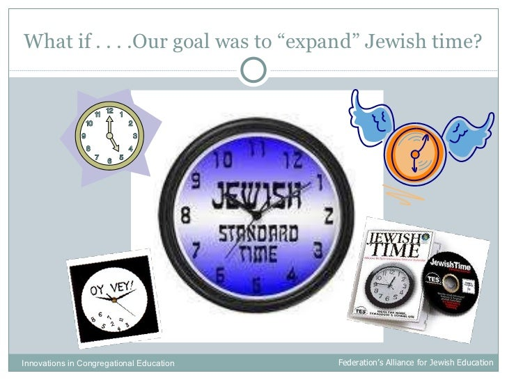 """What if . . . .Our goal was to """"expand"""" Jewish time? Innovations in Congregational Education  Federation's Alliance for Je..."""